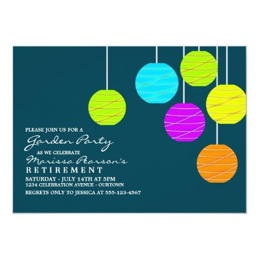 "Paper Lanterns Garden Party Invitations 5"" X 7"" Invitation Card"