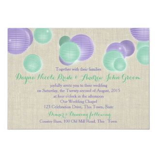 Paper Lanterns Purple Rustic Wedding Card