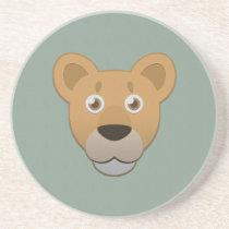 Paper Lioness Sandstone Coaster
