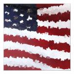 Paper Mache American Flag 5.25x5.25 Square Paper Invitation Card
