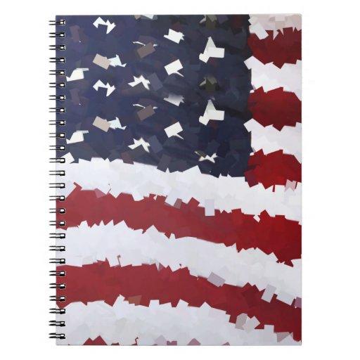 Paper Mache American Flag Spiral Note Book