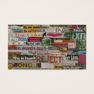 Paper mache word collage from early 90's magazines business card
