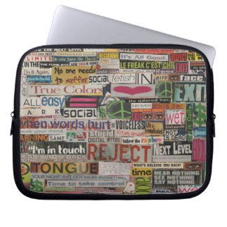 Paper mache word collage from early 90's magazines laptop sleeve