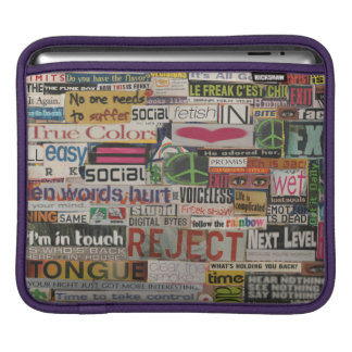 paper mache word collage from paper magazine sleeve for iPads