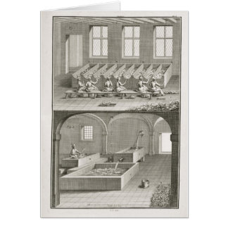 Paper making, from the 'Encyclopedie des Sciences Card