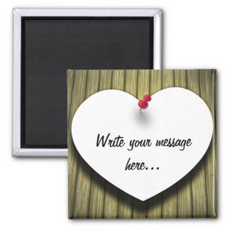 Paper Message Note Heart - Square Magnet