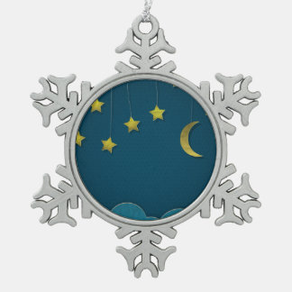 Paper Moon and Stars Snowflake Pewter Christmas Ornament