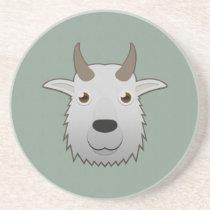 Paper Mountain Goat Sandstone Coaster