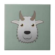 Paper Mountain Goat Ceramic Tile