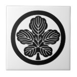 Paper mulberry leaf in circle ceramic tile