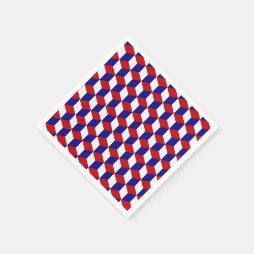 Paper Napkin - Block Illusion in Red, White, Blue