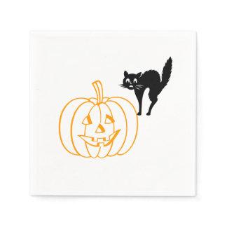 Paper Napkin - Pumpkin and Cat