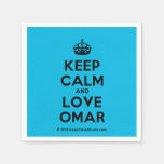 [Crown] keep calm and love omar  Paper Napkins