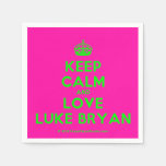 [Crown] keep calm and love luke bryan  Paper Napkins
