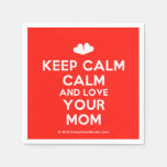 [Two hearts] keep calm calm and love your mom  Paper Napkins