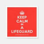 [Crown] keep calm im a lifeguard  Paper Napkins