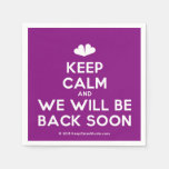 [Two hearts] keep calm and we will be back soon  Paper Napkins