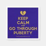 [Broken heart] keep calm and go through puberty  Paper Napkins