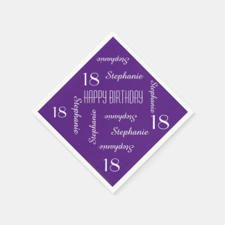Paper Napkins, 18th Birthday Party Repeating Names Paper Napkin