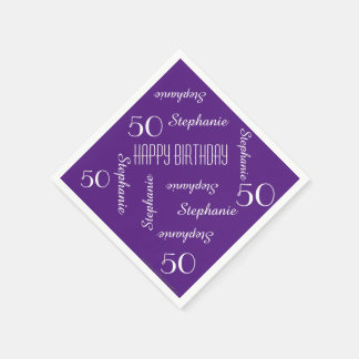 Paper Napkins, 50th Birthday Party Repeating Names Paper Napkin