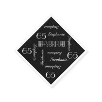 Paper Napkins, 65th Birthday Party Repeating Names Paper Napkin