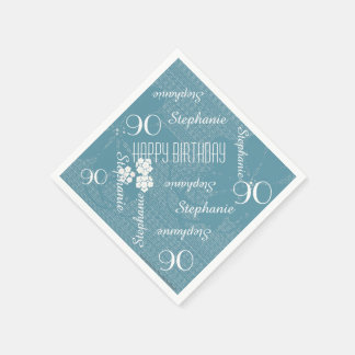 Paper Napkins, 90th Birthday Party, Blue Floral Napkin