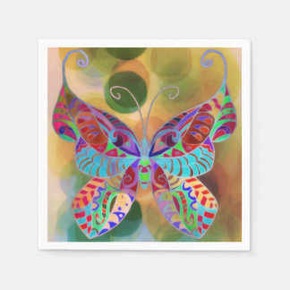 Paper Napkins Colorful Butterfly
