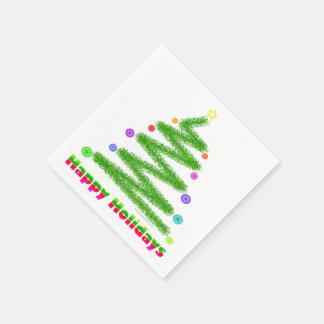 PAPER NAPKINS - HAPPY HOLIDAYS CHRISTMAS TREE