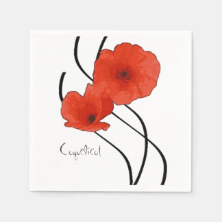 Paper napkins Poppies Abstract