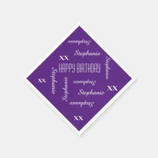 Paper Napkins Purple Adult Birthday Repeating Name