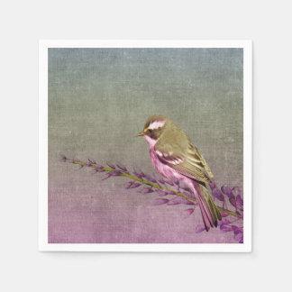 paper napkins  purple pretty song bird