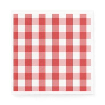 USA Themed Paper Napkins-Red Checker Board Paper Napkin
