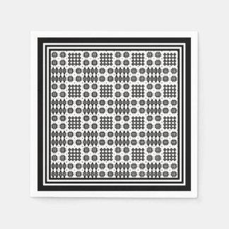 Paper Napkins: Welsh Tapestry Pattern, Black White Napkin