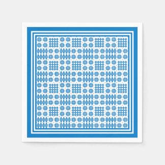 Paper Napkins: Welsh Tapestry Pattern, Bright Blue Napkin