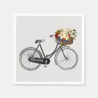 paper napkins white bike bicycle flower