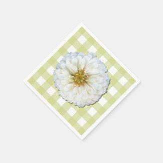 Paper Napkins - White Zinnia on Lattice