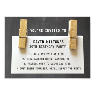 Paper Note Wooden Pegs Chalkboard Birthday Party Card