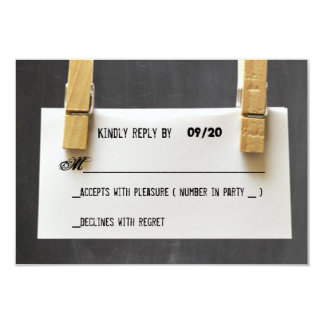 Paper Note Wooden Pegs Chalkboard Response RSVP Card