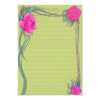"Paper of Green letter ""with roses "" Card"