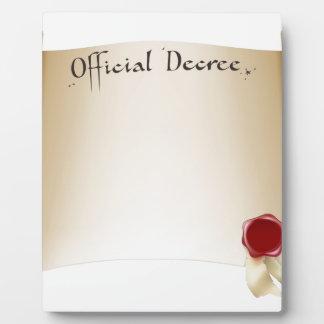 Paper official certificate plaque