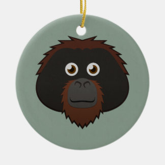 Paper Orangutan Double-Sided Ceramic Round Christmas Ornament
