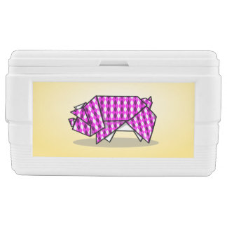 Paper Origami Pig with Argyle Pattern Paper Cooler