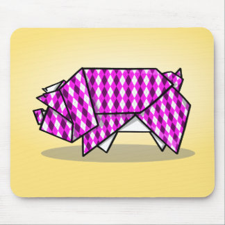 Paper Origami Pig with Argyle Pattern Paper Mouse Pad