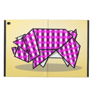 Paper Origami Pig with Argyle Pattern Paper Powis iPad Air 2 Case