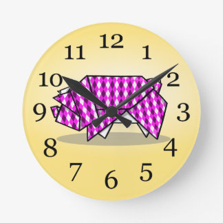 Paper Origami Pig with Argyle Pattern Paper Round Clock