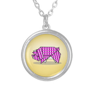 Paper Origami Pig with Argyle Pattern Paper Silver Plated Necklace