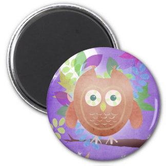 Paper owl - purple - magnet