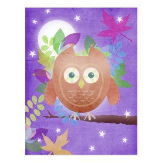 Paper owl - purple - post cards