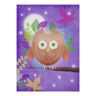 Paper owl - purple - poster print