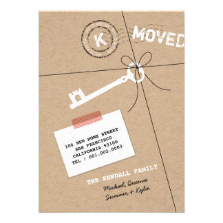 Paper Package & Key House Warming Party Invite Announcements